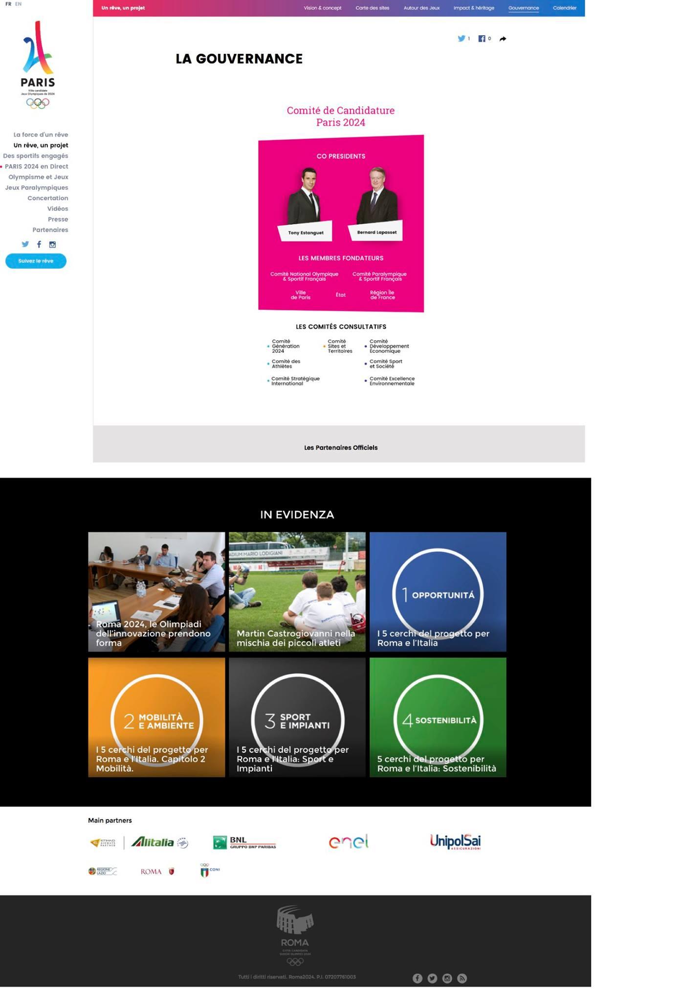 Confronto tra il sito web francese e italiano per i giochi olimpici 2024